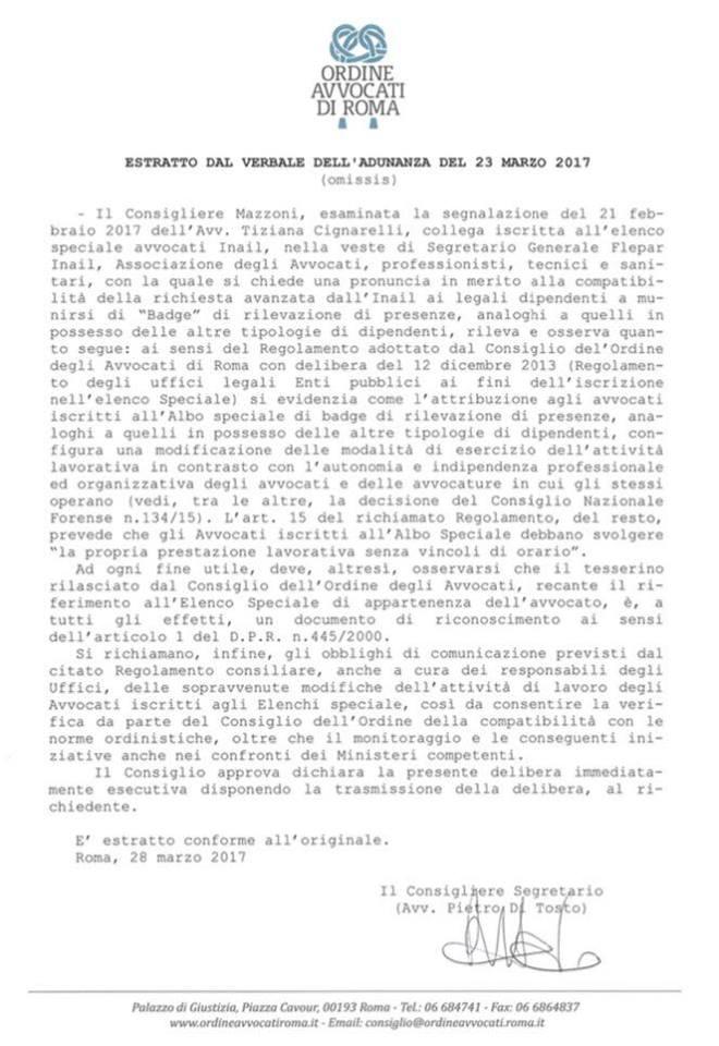 parere ordine avvocati roma sull'uso del badge per gli avvocati » unaep